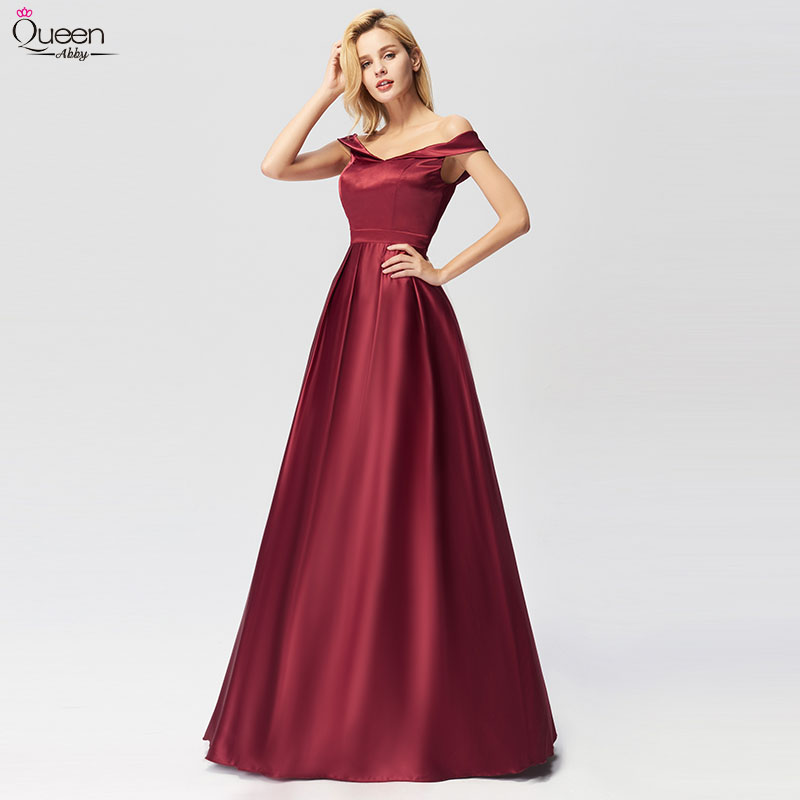 Burgundy Evening Dresses Long Queen Abby A-line Off The Shoulder Sleeveless Special Wedding Occasion Gowns For Party