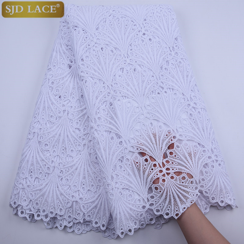 High Quality White Nigerian Cord Lace African Lace Fabrics Guipure Lace Dresses