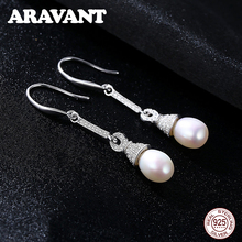 925 Sterling Silver Long Drop Earrings For Women Geometric AAA Cubic Zirconia Pearl Earrings Jewelry Gifts