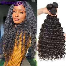 Peruvian Deep Wave Bundles 100% Human Hair Extension Natural Color 3 Bundles Deep Wave Weaves For Black Women