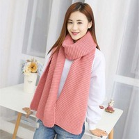 Women Solid Wool Scarf Female Student Couples Winter Long Thick Warm Winter Knitted Scarves