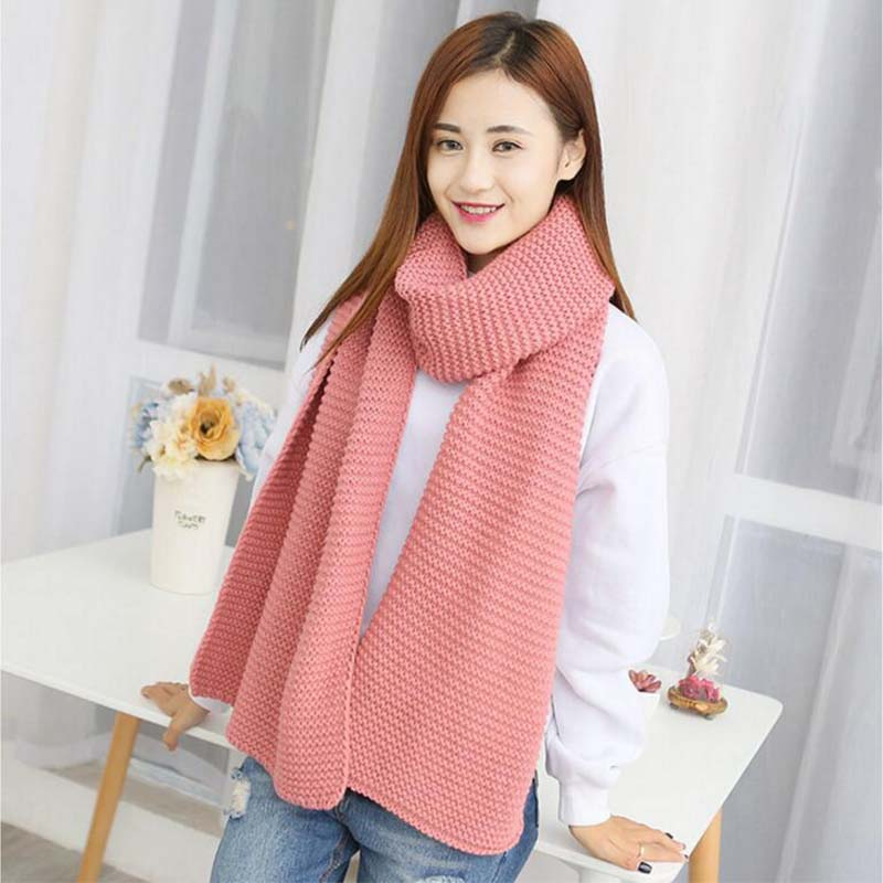 Helisopus Women Solid Coarse Wool Scarf Female Student Couples Winter Long Thick Warm Winter Knitted Scarves