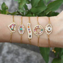 New Trendy eye/heart Gold Silver color Jewelry Copper Micro Pave CZ Cubic Zirconia round Adjustable Charm Bracelets for Women