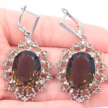45x26mm New Arrival Big Oval Gemstone Smoky Topaz CZ Present Silver Earrings