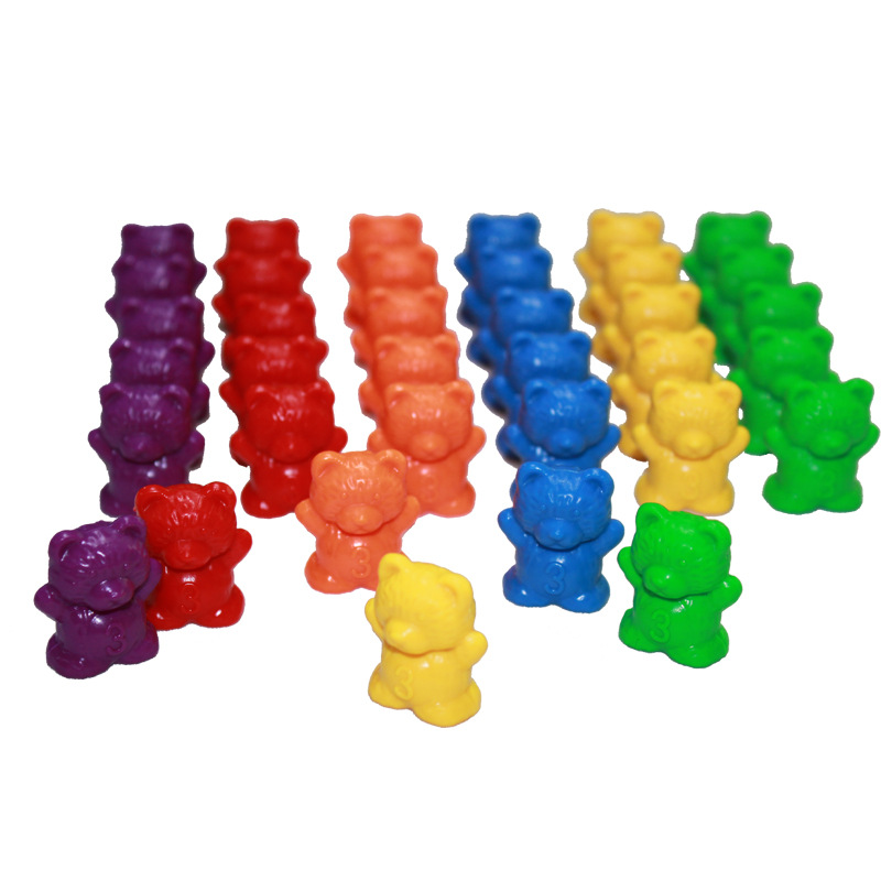 60 Pcs Counting Bears Montessori Educational Rainbow Matching Bear Toys For Children Toddlers Color Sorting Learning Materials