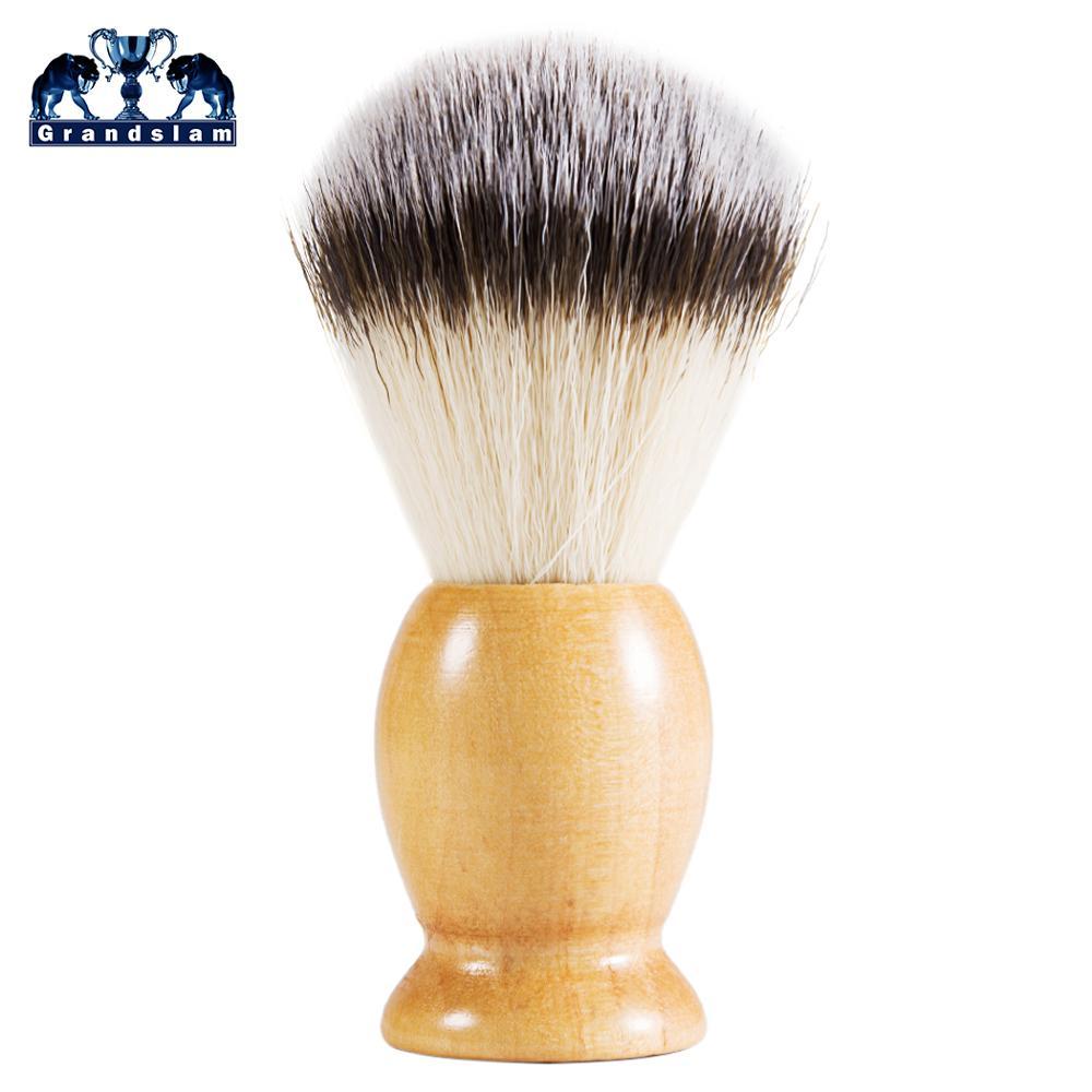 Grandslam Pro Synthetic Nylon Shaving Beard Soap Brush Wood Handle Men Shave Beard Barber Salon Tool