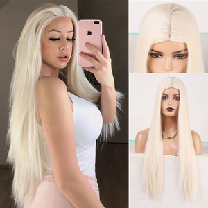 RONGDUOYI Platinum Blonde Synthetic Wigs For Balck Women Machine Made Long Silky Straight Hair Wig Heat Resistant Blonded Wigs