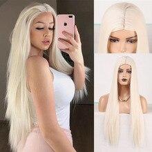 Парик RONGDUOYI для чернокожих женщин, Платиновый, светлый синтетический, машинное изготовление, длинные шелковистые прямые волосы, термостойкие Blonded