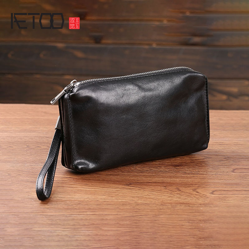 AETOO Handbag Men's Leather Soft Leather Retro Casual Long Wallet Men's Head Cowhide Mobile Phone Bag