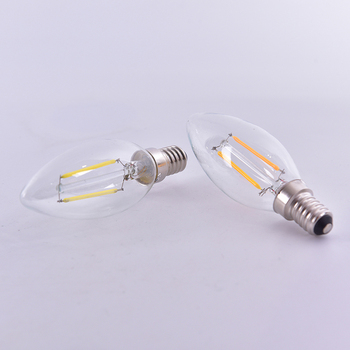 LED Bulb Spotlight 2W/4W/6W E14 COB Candle/Flame Tip C35 Filament Glass Lamp image