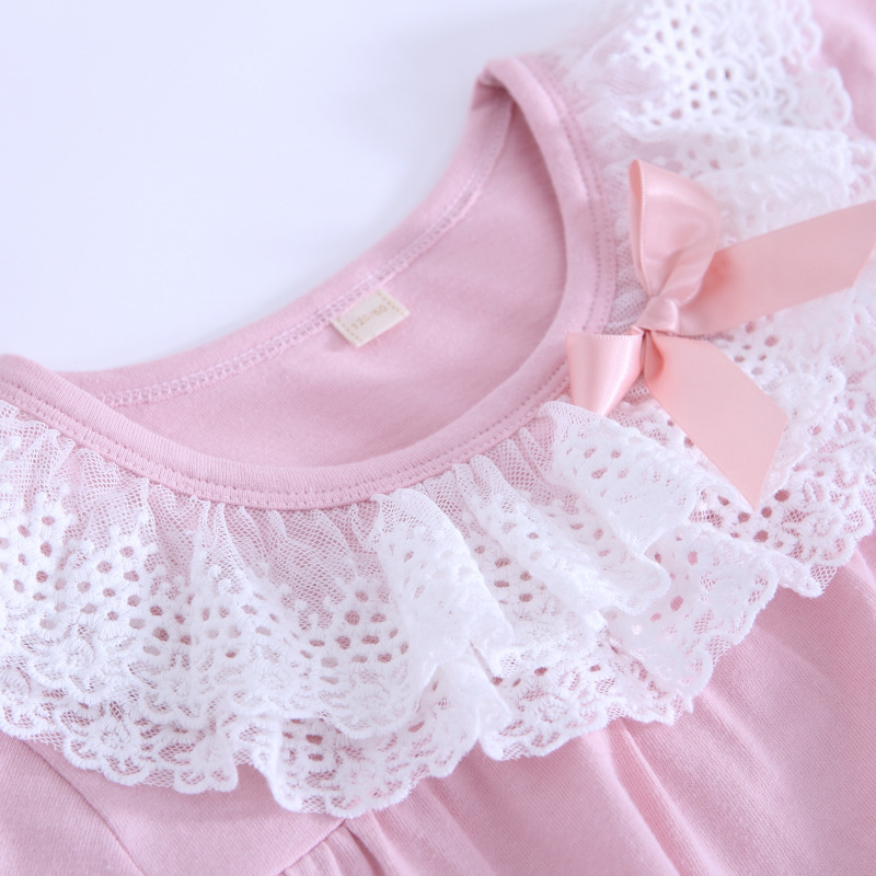 Girl'S Nightgown Pure Cotton Short Sleeve 2018 Summer New Style Similar To Lace Baby Girls Pajamas Tracksuit BAMAQIN