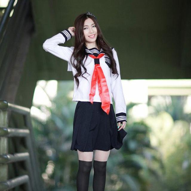 Japanese School Uniform For Girls Autumn Long Sleeve Anime Hell Girl Cosplay With Socks