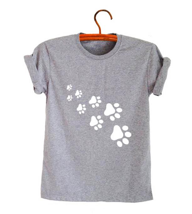 Cat Paws Print Women Tshirt Cotton Casual Funny T Shirt For Lady Top Tee Lady 6 Colors Drop Ship Z-326