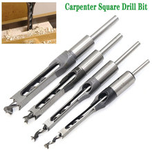 цена на 1pc HSS Square Hole Saw Mortise Chisel Wood Drill Bit with Twist Drill Carpenter Bit Tool Woodworking Bit Hole Guide Positioner