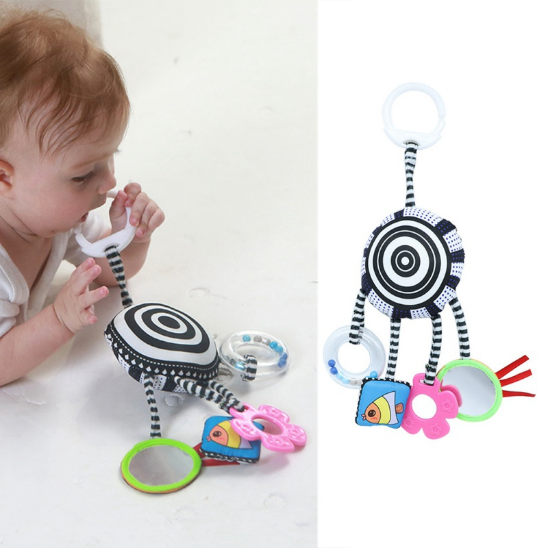 Newborn Baby Infant Cute Cartoon Stroller Kids Bed Hanging Decoration Aeolian Good Quality Fabric Bell Rattle Toys With Teether