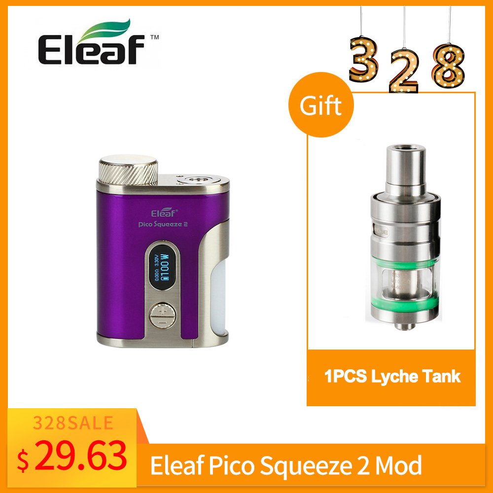 Clearance Original Eleaf Pico Squeeze 2 Mod Box VW/TC(Ni/Ti/TCR)/BYPASS Mode Output 100w Box Mod Vape Electronic Cigarette
