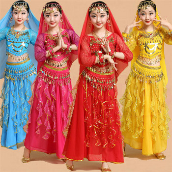 Belly Dance Dancer Clothes Bollywood Indian Dance Costumes for Kids Child Sexy Belly Dance Clothing Oriental Dance for Stage indian princess belly dance tulle feather party mask