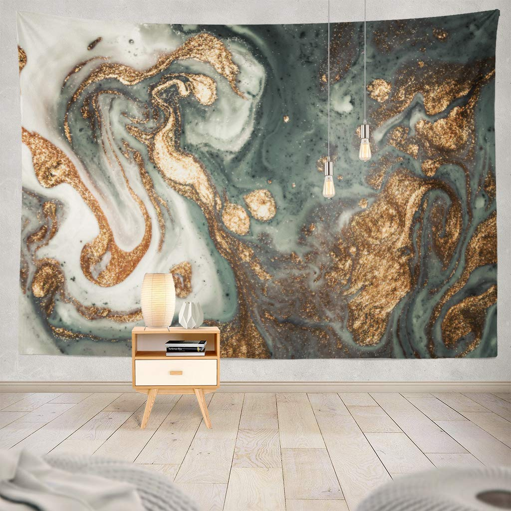 Marble Contemporary Art Golden And Turquoise Acrylic Can Trendy Invitations Decorative Tapestry