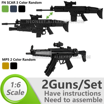 1:6 1/6 Scale 12 inch Action Figures Rifle FNSCAR Grenade Launcher + Submachine Gun MP5 Model Gun Toy Seal SAS SBS MG Gundam 1 6 4d germany mp7 submachine gun model diy assemble models for 12 inches action figures collections