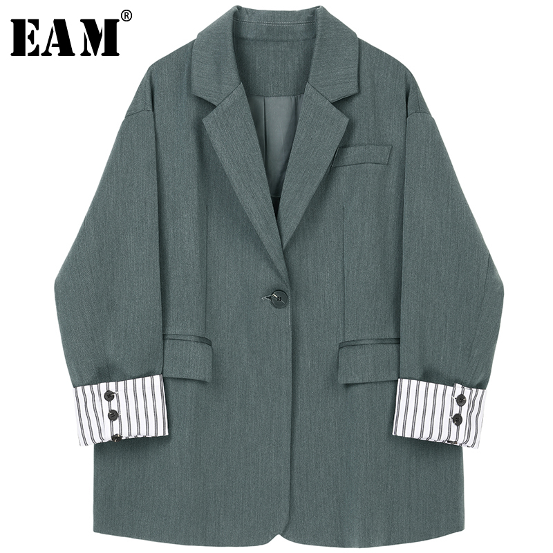 [EAM] Loose Fit Striped Cuff Spliced Big Size Suit Jacket New Lapel Long Sleeve Women Coat Fashion Tide Spring Autumn 2020 1A215
