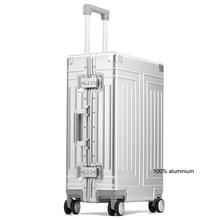 "Carrylove 20 ""24"" 26 ""29"" Inch Aluminium Trolley Koffer Waterdicht Metallic Cabine Bagage Trolly Tas Met wielen"