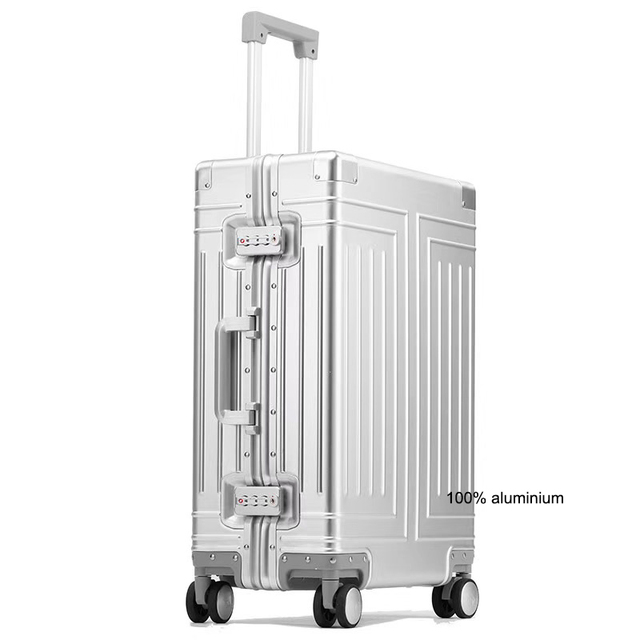 """Carrylove 20""""24""""26""""29"""" inch aluminum trolley suitcase waterproof metallic cabin luggage trolly bag with wheels"""