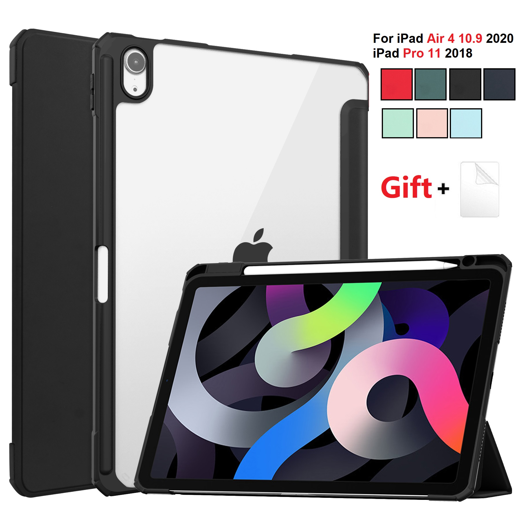 for iPad Air 4 Balck Black For iPad Air 2020 Case 10 9 inch Tablet Case 3 folding Cover Funda Auto Wake