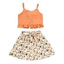 2pcs/Set Baby Girl Floral Boho Skirt Set Summer Strap Top Maxi Dress Outfit Beach Clothes 6-9-12-18-24 Months