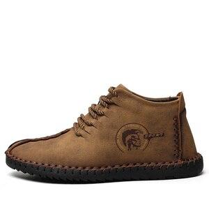 Image 2 - JUNJARM, модные мужские ботинки высококачественные зимние ботильоны из спилка теплая зимняя обувь на меху с плюшевой подкладкой на шнуровке большой размер 38 48