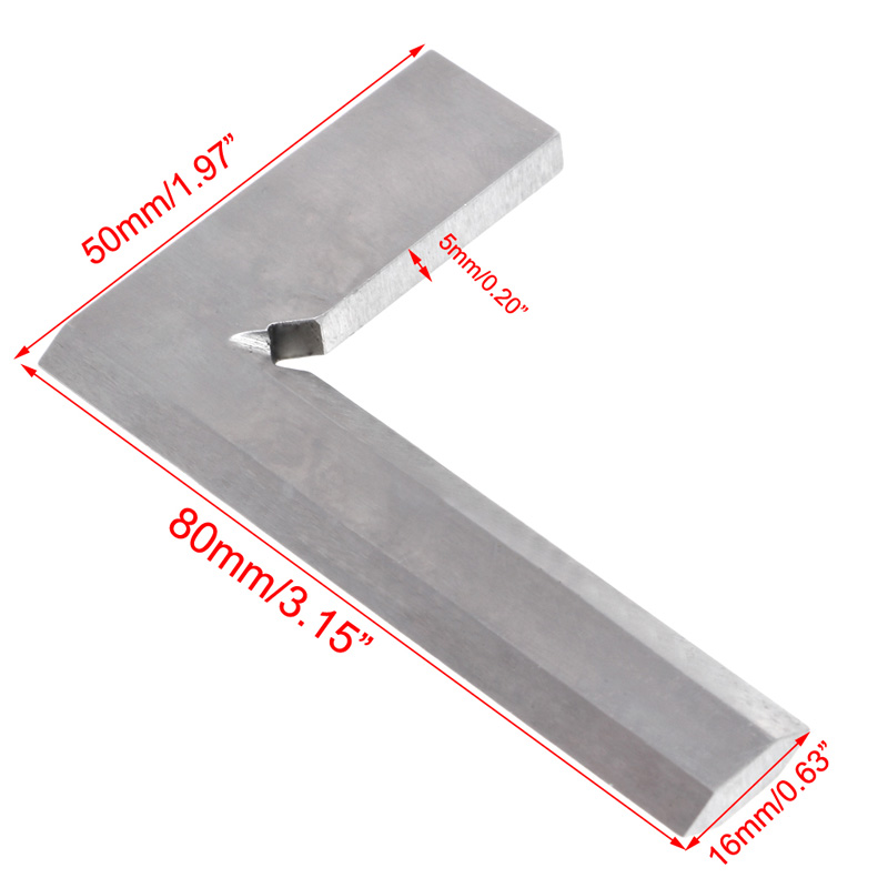 Drop Ship 80x50mm Angle Square Broadside Knife-Shaped 90 Degree Blade Ruler Gauge