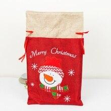 Christmas Embroidered Drawstring Treat Bag Stocking Holders Linen Cloth Christma