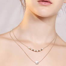 Fashion Charm Choker Necklace for Women Imitation Pearl Layers Gold Chain Custome Necklaces Wedding Jewelry Gifts faux pearl decorated charm choker set