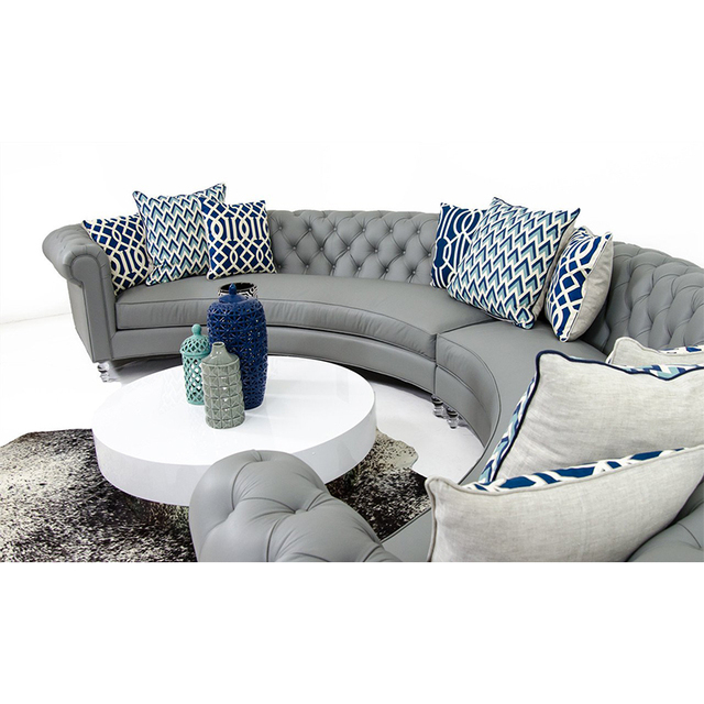 Chesterfield Arc-Shaped  Leather Conversational Sofa 5