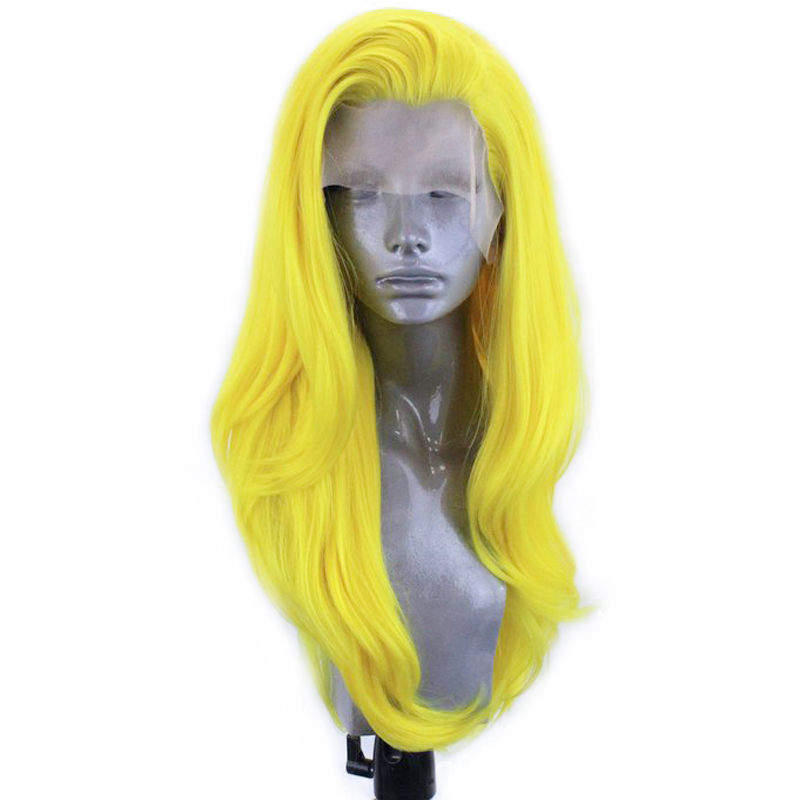 RONGDUOYI Natural Wave Yellow Free Part Long Wavy Wig High Temperature Fiber Synthetic Lace Front Hair Wigs For White Women 13x3