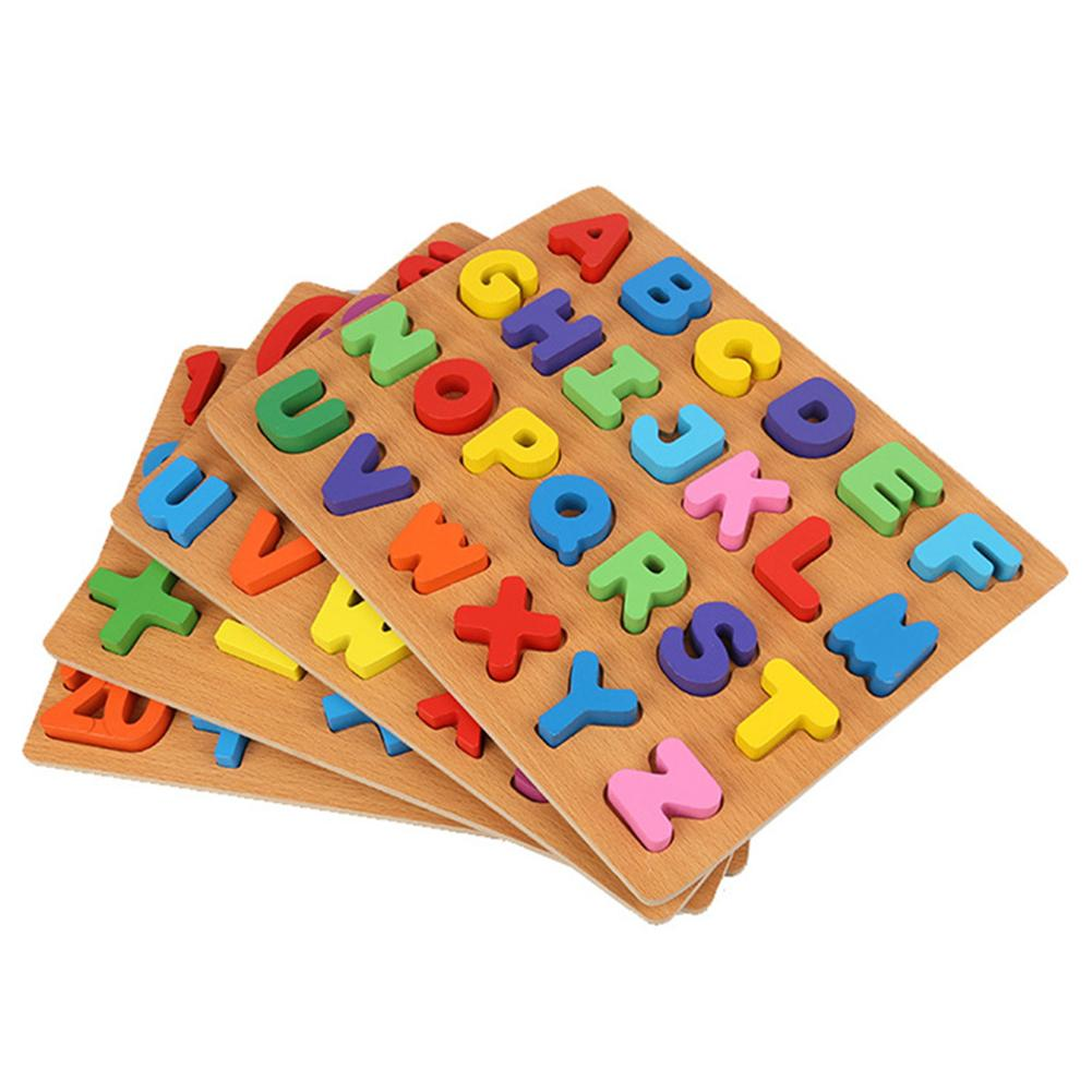 Children Alphabet ABC Numbers Wooden Learning Toy Kids Educational Puzzle Board For Learning Kids Gift Promotes Hand Eye Ability