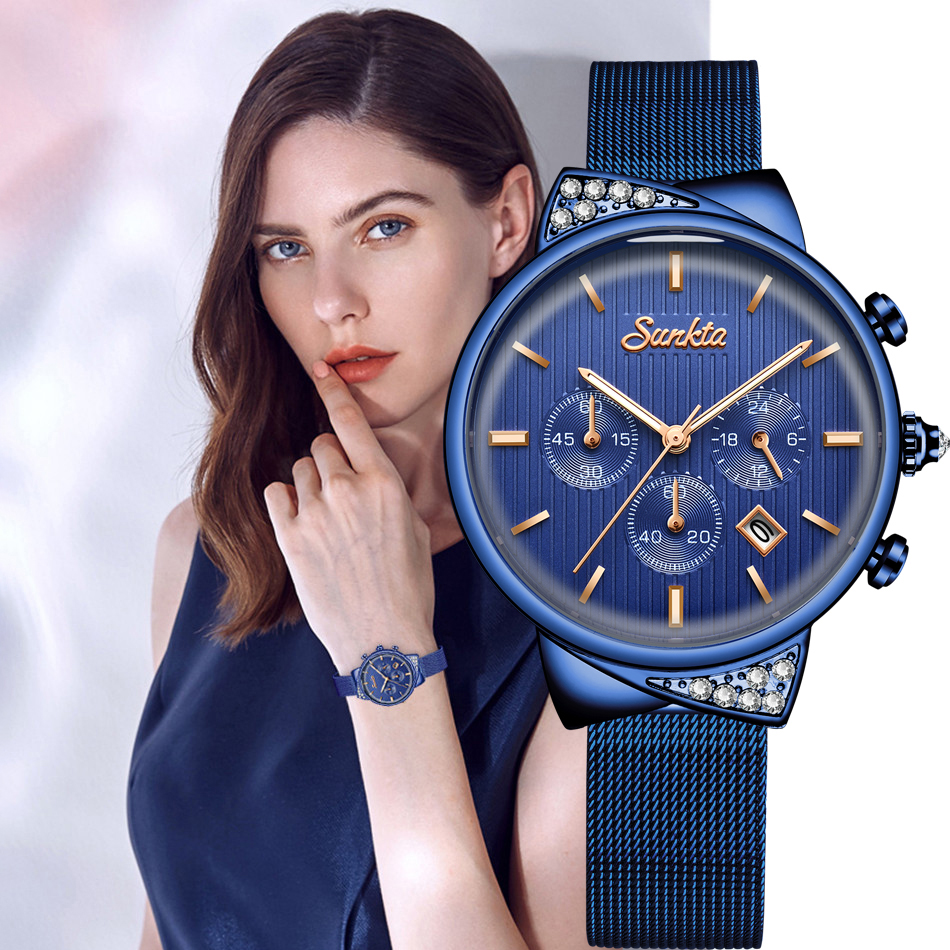 SUNKTA Womens Watch Top Brand Luxury Casual Fashion Watch Women Chronograph Waterproof Quartz Watch Wife Gift Zegarek Damski+Box