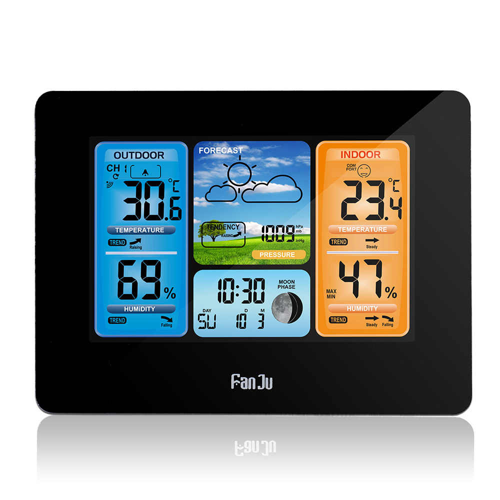 Fanju FJ3373B LCD Wireless Weather Station Alarm Clock Digital Thermometer Hygrometer Barometer Cuaca Alarm Harian Jenis Dinding