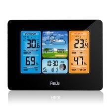 Fanjuワイヤレスデジタル温度計湿度計バロメーター天気ステーション霜アラーム時計予報毎日電子壁時計