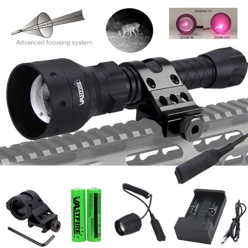 400 Yards T50 Zoomable Infrared Flashlight With Red Laser IR 850nm Hunting Torch+Rifle Scope Mount+Switch+2*18650+USB Charger