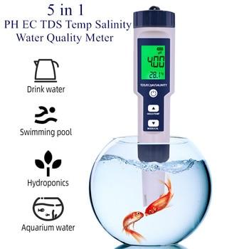 5 w 1 miernik cyfrowy pH EC TDS zasolenie temperatura jakość wody napoje spożywcze zawartość soli akwarium miernik wody morskiej ATC 40% taniej