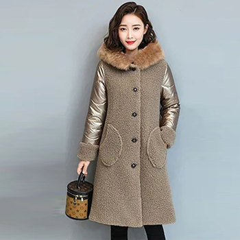 Plus size 5XL Winter Coat Women Fur Coat Korean Hooded Long Jacket Loose Thick Warm Faux Fur Jacket Lambswool Splice Cotton Coat thicken fur faux fur coat female korean version of the fashion slim in the long hooded raccoon fur fur coat womens fur jacket