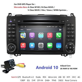 AutoRadio Android 10 2Din Car Multimedia Player For Mercedes/Benz/Sprinter/B200/B-class/W245/B170/W169 GPS Navigation 2 din DVD image