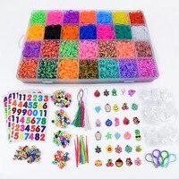 Loom Bands Colorful Rubber Loom Band Box Girls Gift Charmes Bracelet Making Kit Creavie DIY Toy 5000 10000pcs/set