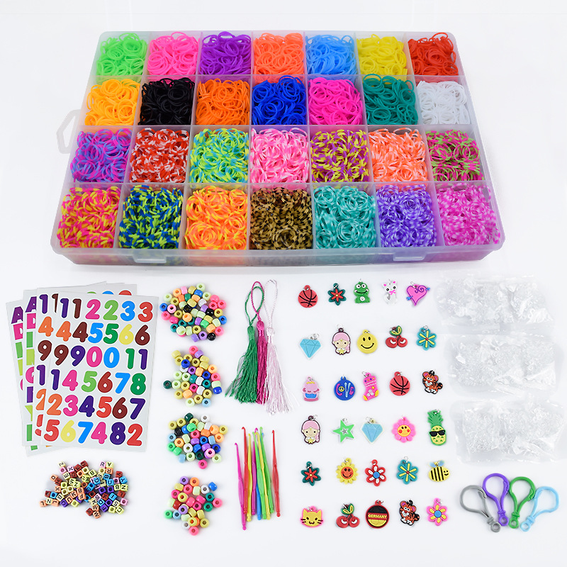 Loom Bands Colorful Rubber Loom Band Box Girls Gift Charmes Bracelet Making Kit Creavie DIY Toy 5000-10000pcs/set