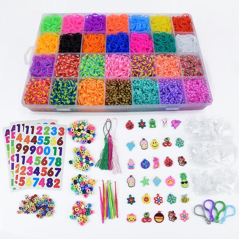 Loom Bands Colorful Rubber Loom Band Box Girls Gift Charmes Bracelet Making Kit Creavie DIY Toy 5000-10000pcs/set