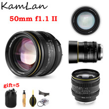Kamlan 50mm f1.1 ii APS-C grande abertura lente de foco manual para canon eos m sony e fuji x m4/3 montagem para lente de câmera sem espelho