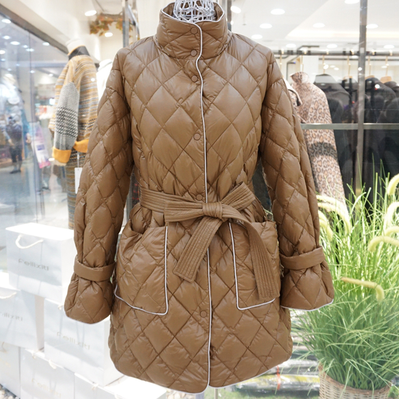 Winter Ultra Light White Duck Down Parka Women Stand Collar Long Warm Down Jacket Single Breasted Sash Tie Up Outerwear