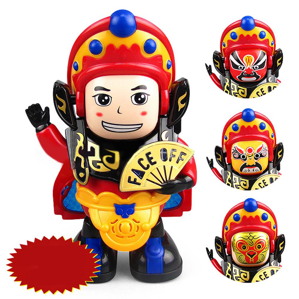 Kuulee Children Traditional Opera Face Mask-Changing Doll Kids Electric Dancing Toy With Sound Light Delicate Birthday Gift