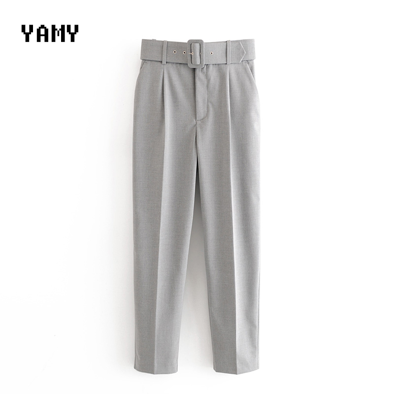 New Color Gray Womens High Waist Trousers With Belt Office Lady Casual Pants Trousers Streetwear Zoravicky Female Purple Pants