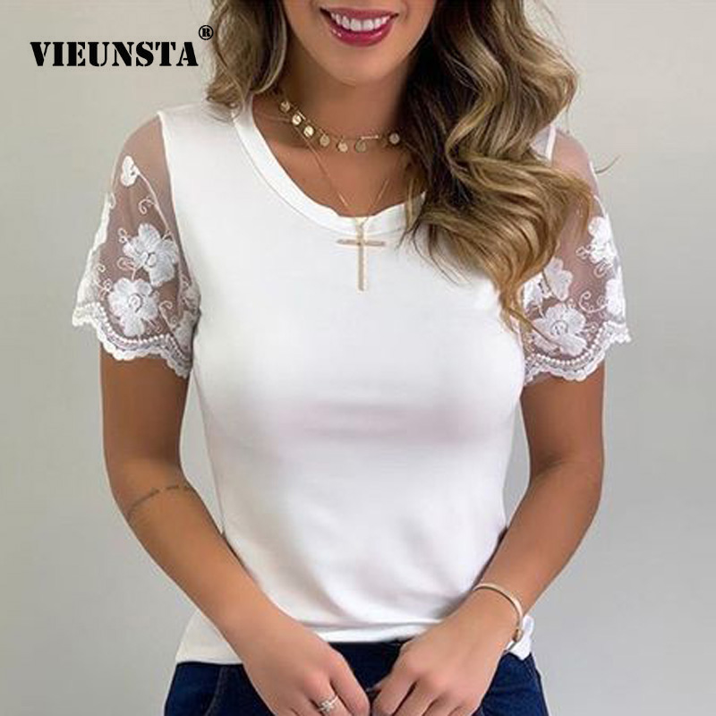 Plus Size Women Blouse 2020 Sexy Embroidery Lace Short Sleeve Summer Shirt Spring O-neck Solid Casual Womens Tops And Blouses